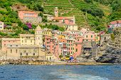 Vernazza in Cinque Terre, Italy, view at the town from mountain trail