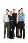 Group Of Happy Multi Racial Businesspeople Standing On White Background