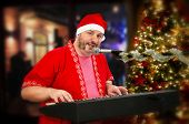 Bearded Santa Claus Playing Digital Piano And Singing