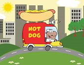 African American Hot Dog Vendor Driving Truck In The Town