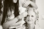 Hair Stylist Designer Making Hairstyle For Woman