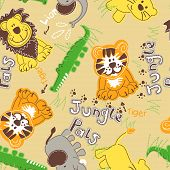 Jungle Pals Wild Animals Seamless Pattern