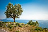 Beautiful panoramic view on ionian sea, Lukova, Albania.