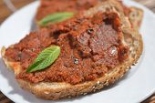 Sandwich with tomato and pepper spread