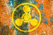 stock photo of chemical weapon  - Chemical weapons symbol on a rust metal plate - JPG