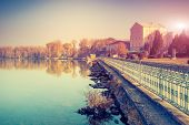 Fantastic sunny day on the lake. Ternopil, Ukraine, Europe. Beauty world. Retro style filter. Instag