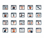 Business Icon Set. Software, Web Development, Finance, Banking. Flat Design