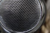 Closeup of holes in microphone
