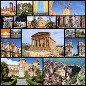 stock photo of marsala  - Photo collage from Sicily island Italy - JPG