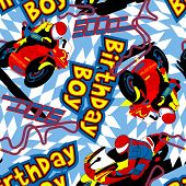 Birthday Boy Motorbike Seamless Pattern