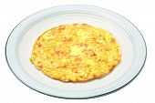 Egg Omelet In Ceramic Plate On White Background