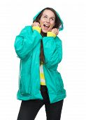 Happy Woman Holding Rain Jacket Hood