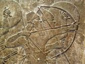 picture of mesopotamia  - Assyrian 8th century BC relief showing Assyrian soldiers in battle - JPG