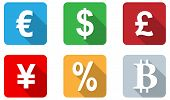 Currency Icons Flat Design