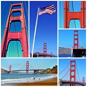 a collage with different pictures of the Golden Gate Bridge in San Francisco, United States