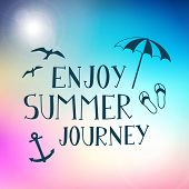 Summer Journey Hand Drawn Vector Poster Background