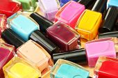 Group of bright nail polishes, close up