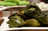 Malay Traditional Dessert (kuih) Wrapped In Banana Leave