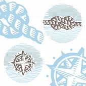 Vintage marine symbols vector icon set: engraving knot and wind rose