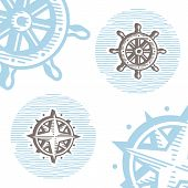 stock photo of wind wheel  - Vintage marine symbols vector icon set - JPG