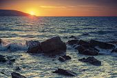 Sunset On The Atlantic Ocean Coast In Morocco, Tangier. Toned Effect