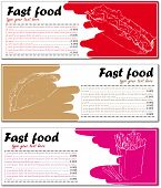 Fast food menu cards with hot dog, taco and french fries