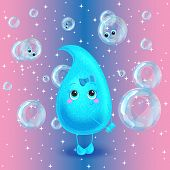 Water drop. Vector character. Cute cartoon.
