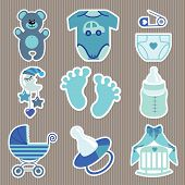 Cute  Icons For Newborn Baby Boy.strips Background