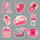 Cute Icons For Newborn Baby Girl. Polka Dot  Background