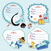 Cute Label Set With Items For Newborn Baby Boy
