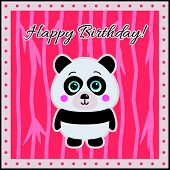 Happy Birthday Panda on a coral background.