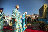 TIKHVIN, RUSSIA - JULY 9, 2014: Bishop and Tikhvin Lodeinopolskiy Mstislav celebrate Orthodox divine