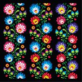Seamless long Polish folk art pattern - wzory lowickie, wycinanka