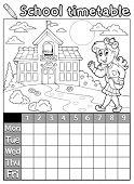 Coloring book school timetable 6 - eps10 vector illustration.