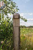 Image Wooden Pillar At The Border Of The Field