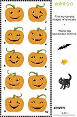 Visual puzzle - find two identical pictures of Halloween pumpkins