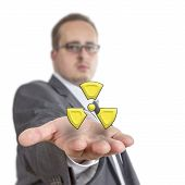 Business Man Holding Radioactive Symbol