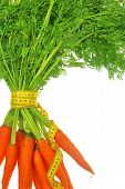 Fresh carrots with leaves and measuring tape isolated