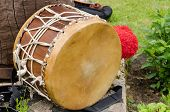 Leather Drum With African Motifs Outdoor