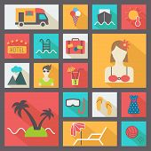 Summer and vacation icons set, flat design vector.