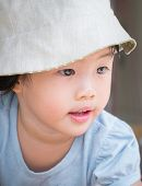Adorable Asian Child Girl Concentrate On Travel