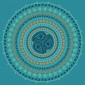 Paisley Circle Composition .vector Oriental Motif In Cool Colors