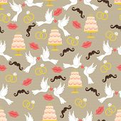 Vintage Wedding Seamless Pattern Set.lips,mustache, Pigeons,cake