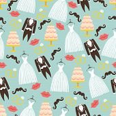 Vintage Wedding Seamless Pattern Set.tuxedo,dress,cake