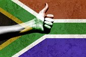 Thumbs Up On South African Flag