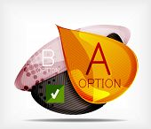 Option infographic presentation layout - vector background. Flowing glossy shapes