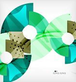 Modern futuristic techno abstract composition, overlapping shapes