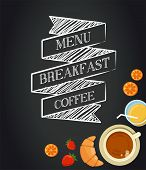 Breakfast menu drawing with chalk on blackboard, croissants, coffee and juice