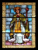 PORT AZZURRO, ELBA, ITALY - MAY 03: Saint Martin, stained glass in the church of St. James the Great