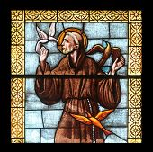 PORT AZZURRO, ELBA, ITALY - MAY 03: Saint Francis of Assisi, stained glass in the church of St. Jame